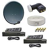 PremiumX Digitale HD SAT Anlage für 2 Teilnehmer 60cm Schüssel mit Twin LNB 0,1dB +...