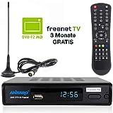 Ankaro DVB-T2 Receiver DTR 50 inkl. 3 Monate GRATIS Freenet TV digitaler H.265...