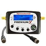 PremiumX PXF-22 Digital Sat Finder LCD Display Tonsignal Kompass Satelliten...