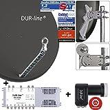 DUR-line 8 Teilnehmer Set - Qualitäts-Alu-Satelliten-Komplettanlage - Select 85/90cm...