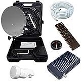 Bundle by netshop 25 Camping Sat Koffer 40cm Spiegel + HD Receiver (12V & 220V) +...