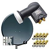 PremiumX Digital SAT Anlage 80cm ALU Schüssel Spiegel Antenne Anthrazit Quad LNB...