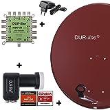 DUR-line MDA 80 Rot - Digitale 8 Teilnehmer Satellitenschüssel Komplett-Anlage mit...