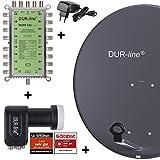 DUR-line MDA 80 Anthrazit - Digitale 16 Teilnehmer Satellitenschüssel...