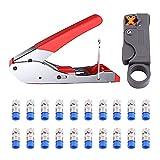 Kompressionszange,Eendoos Stecker Werkzeug Koax-Kabel Stripper RG59/RG6 Crimper...