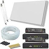 netshop 25 Set: Selfsat H30D2+ Flachantenne Twin + 2 HD Receiver + 20m Kabel +...