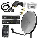 Digital Sat Anlage 80 cm Spiegel inkl. 2X ARLI AH2 Full HD Receiver + Twin LNB + 50 m...