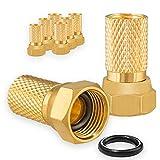 8X F-Stecker 7mm Vergoldet mit Gummidichtung breite Mutter für Koaxial Antennenkabel...