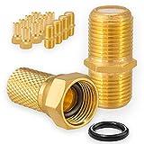 HB-Digital 5X Verbinder 10x F-Stecker Set 7mm Vergoldet mit Gummidichtung breite...