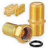 5X Verbinder 10x F-Stecker Set 7mm Vergoldet mit Gummidichtung breite Mutter für...