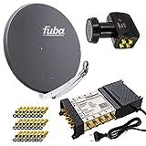 PremiumX Satelliten-Komplettanlage Fuba DAA 850 A Satellitenschüssel Alu Anthrazit...