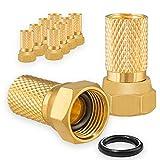 10x F-Stecker 7mm Vergoldet mit Gummidichtung breite Mutter für Koaxial...